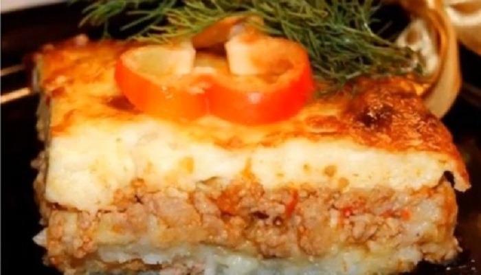 картофельная запеканка с соусом Бешамель