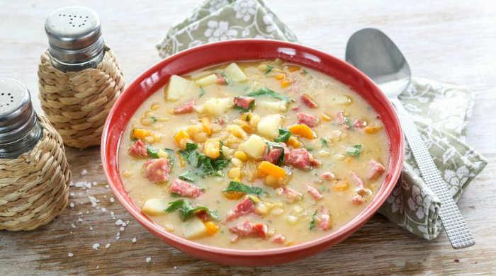 Гороховый суп с копчёной колбасой