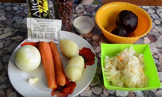 Винегрет с красным луком и фасолью - рецепт пошаговый с фото