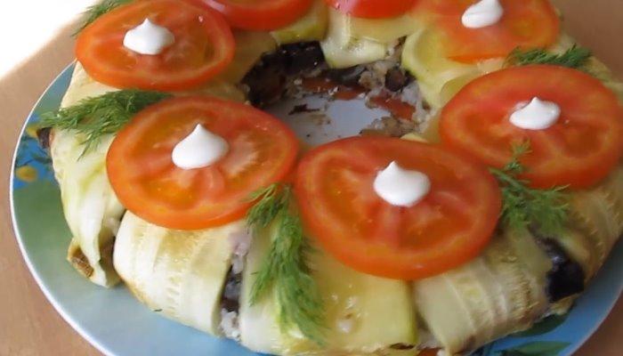 Запеканка из кабачков с фаршем в форме кекса