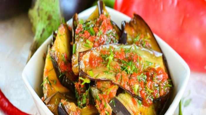 Салат из баклажанов Тёщин язык - простые рецепты острой закуски на зиму