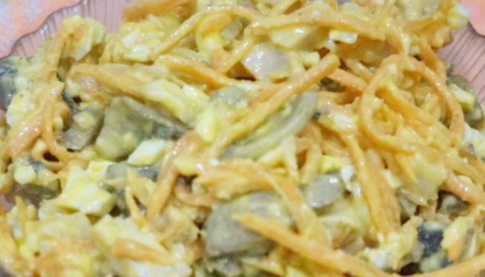 Салат из копченой курицы с грибами шампиньонами