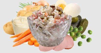 Салат оливье с колбасой и солёными огурцами