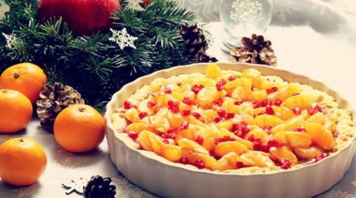 Новогодний мандариновый тарт