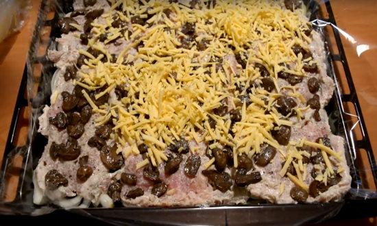 картофель, грибы, сыр