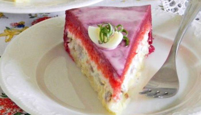 Салат-торт Селёдка под шубой