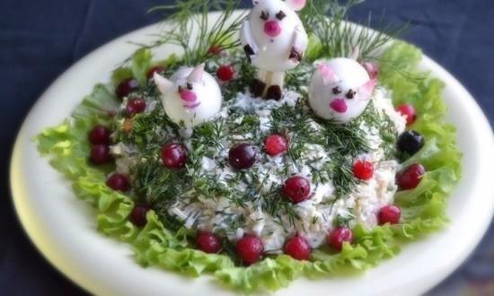 Салат новогодний «Три поросенка»