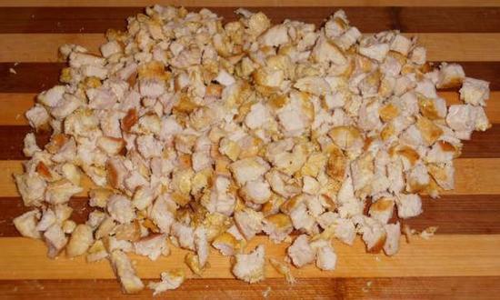 нарезали куриное филе