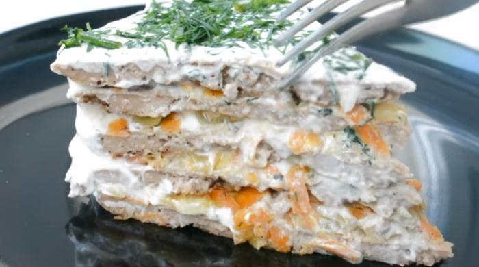 Печеночный торт из говяжьей печени диетический