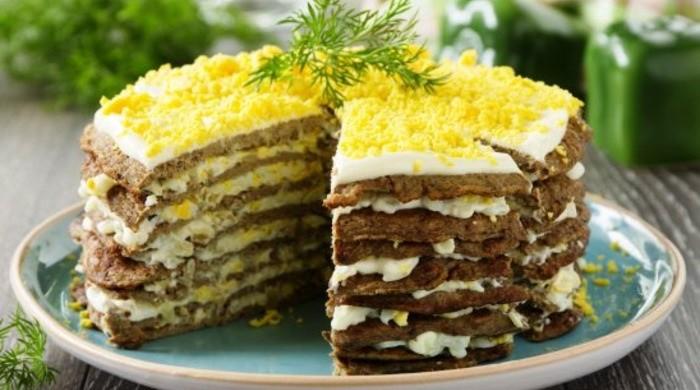 Печеночный торт из говяжьей печени классический рецепт