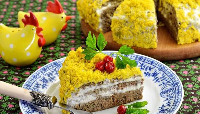 Печёночный торт из куриной печени в мультиварке