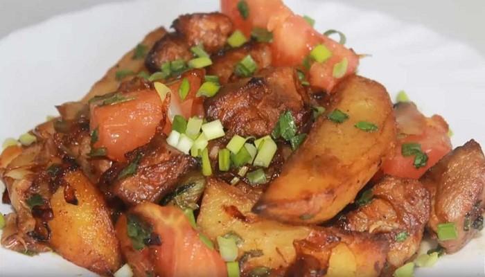 пожарить картошку с мясом