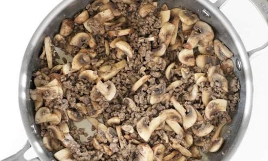 фарш из мяса и грибов