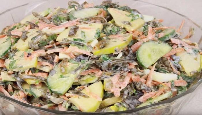 салат из морской капусты с яйцом и морковью