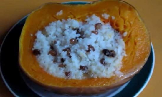 рисовая каша в тыкве готова