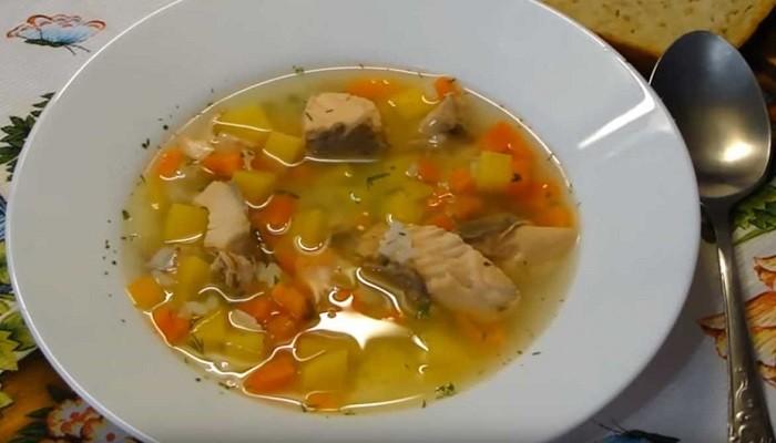 Суп из семги с рисом без сливок