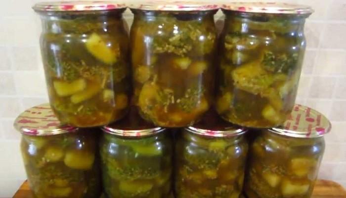 Салат из огурцов на зиму с соевым соусом и кунжутом