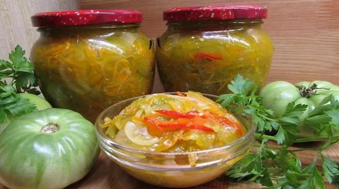 Салат из зеленых помидор на зиму — простые рецепты вкусного салата в банках