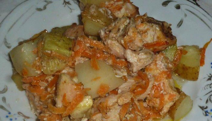Овощное рагу с курицей запеченное в духовке