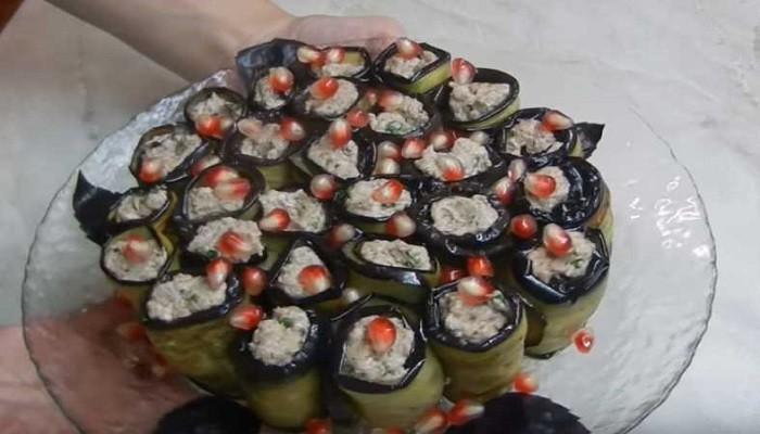 Рулетики из баклажан по-грузински с грецким орехом
