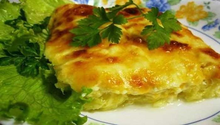Запеканка с кабачком и курицей без сыра