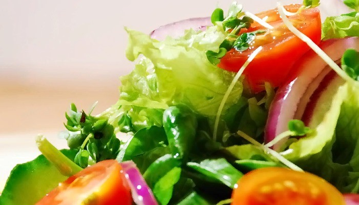 Салат с кальмарами и листьями цикория