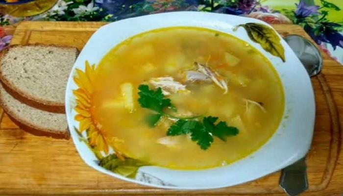 Гороховый суп с курицей по простому рецепту
