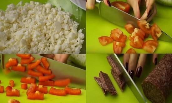режем колбасу помидоры перец капусту