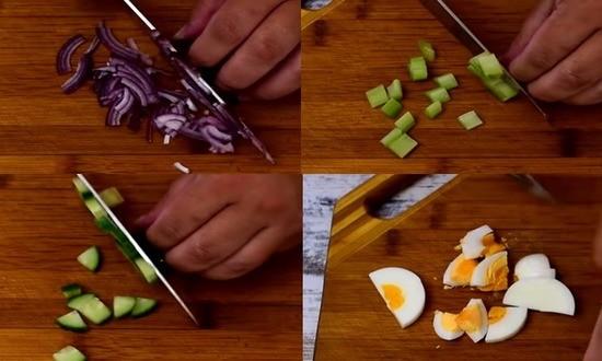 режем лук сельдерей огурец яйца