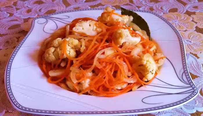 Салат из корейской моркови и цветной капусты