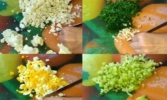 режем яйца капусту огурец зелень