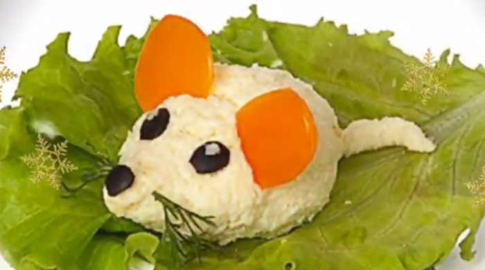 салат в виде крысы