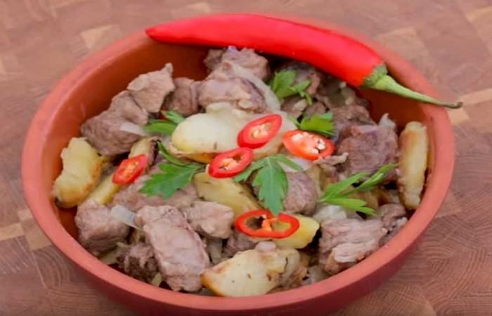 Баранина по-туркменски с картошкой