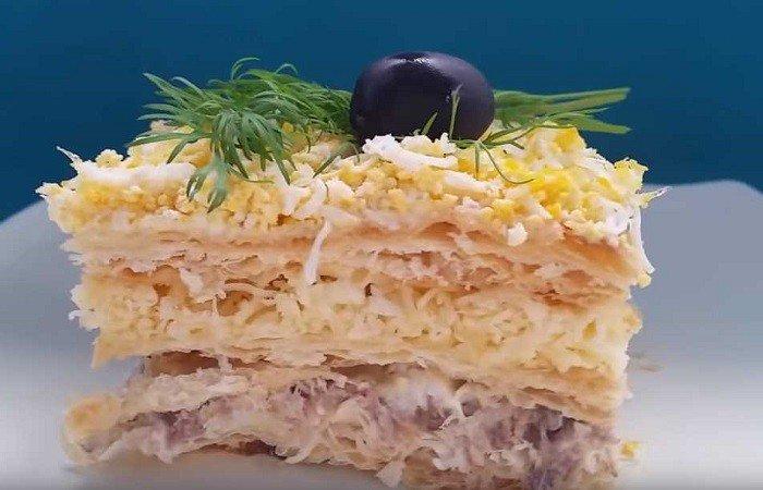 Рыбный пирог со слоёным тестом