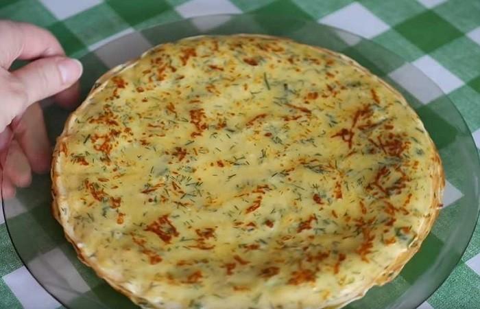 Быстрые блины с сыром и зеленью