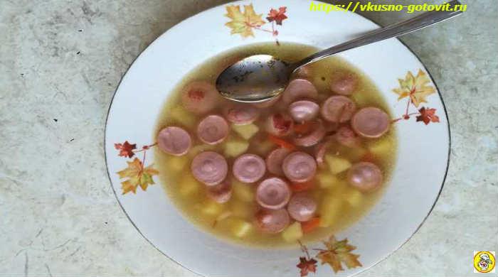 Картофельный суп с сосисками