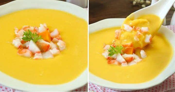 Суп-пюре с креветками и тыквой