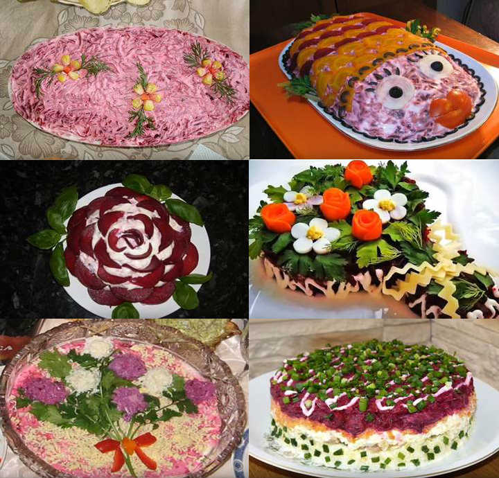 коллаж салатов