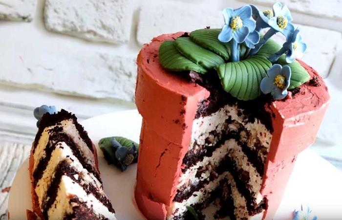 торт цветы в горше