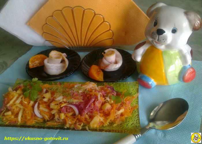 Салат из репы с морковью и яблоком
