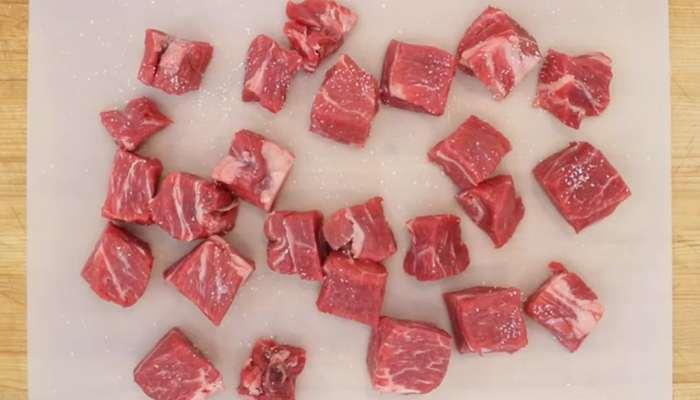 нарезанные кусочки говядины