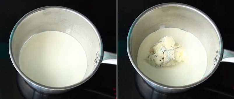 сливки с сыром в миске