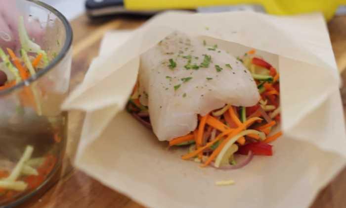 овощи с рыбоу в пакете