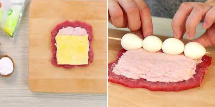 выкладываем слои колбасы