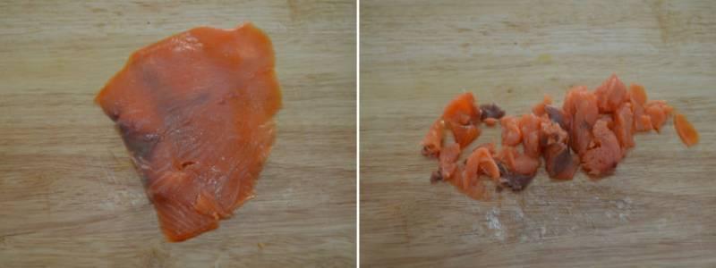 нарезанный лосось